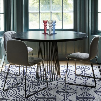Contemporary blue and white patterned rug