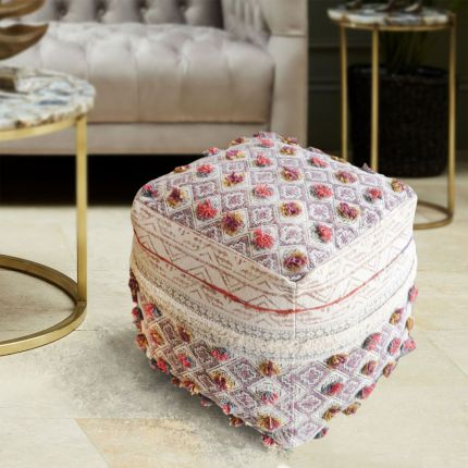 a luxurious, multicoloured handwoven pit loom cotton pouffe with embroidered detailing
