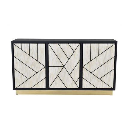 Luxurious modern glam abstract cabinet in a black and cream design with a golden base