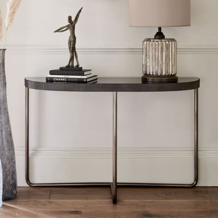 Contemporary black tinted glass console table