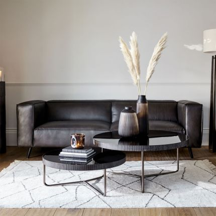 Modern contemporary set of 2 black coffee tables with black tinted glass