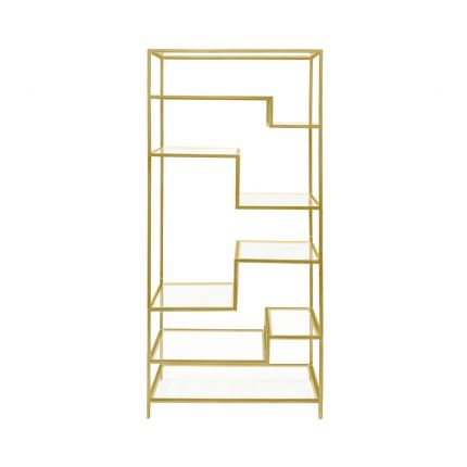 A dazzling golden display shelving unit with clear shelves