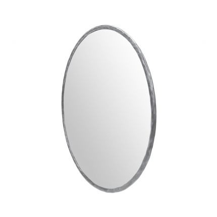 A luxurious round antique brushed nickel wall mirror