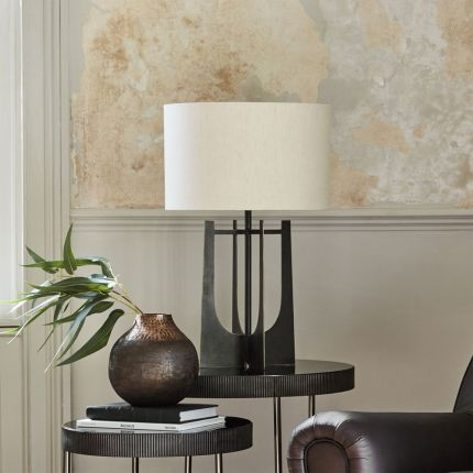 Contemporary dark oak wood finished table lamp with natural linen shade