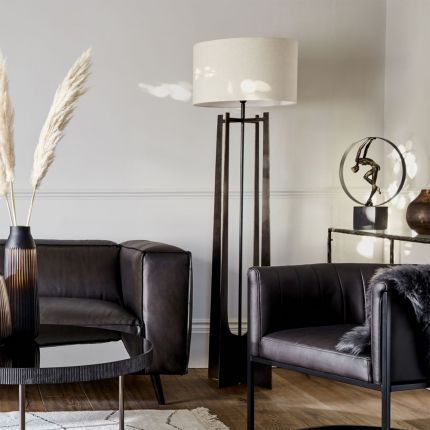 Contemporary dark oak finished floor lamp with natural linen shade