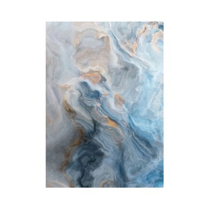 Marble effect wall art with blue yellow and grey tones
