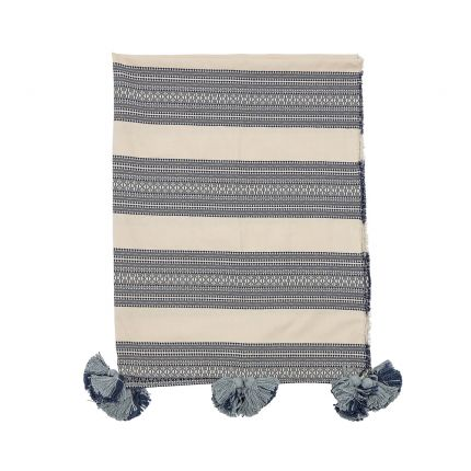 A luxurious grey and cream striped cushion with pompoms