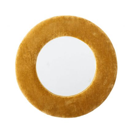 A radiant yellow mirror with vibrant cotton upholstery and clear mirror glass