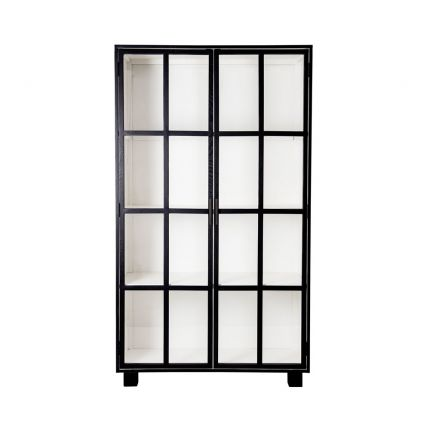 A sophisticated black crittall display cabinet with tempered glass