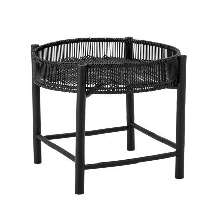 A chic and sophisticated round black bamboo side table