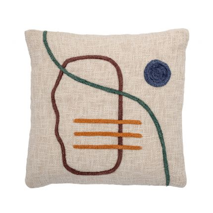 Luxurious natural cotton square cushion with multicoloured abstract design