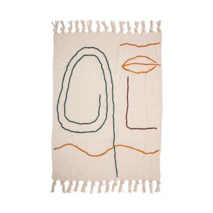 Neutral tone cotton throw with a colourful abstract design
