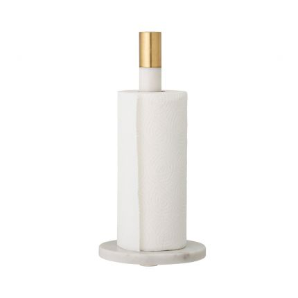 An elegant white marble and brushed brass kitchen paper towel holder