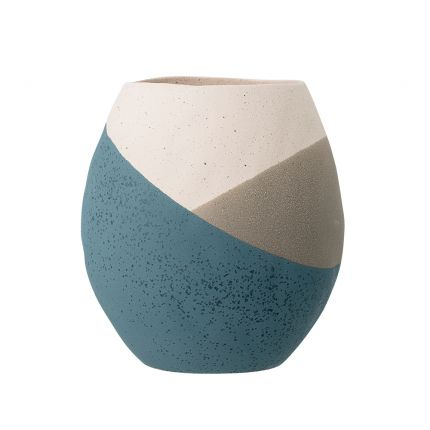 A lovely neutral and blue terracotta vase