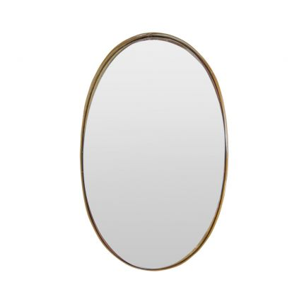 A large oval wall mirror with a gold metallic frame