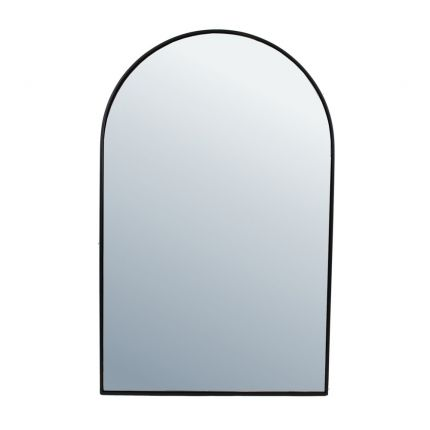 Contemporary black framed arched wall mirror