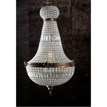 Classic statement empire shape chandelier with cut glass intertwined beading