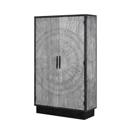 grey and black cabinet with circular engraved design