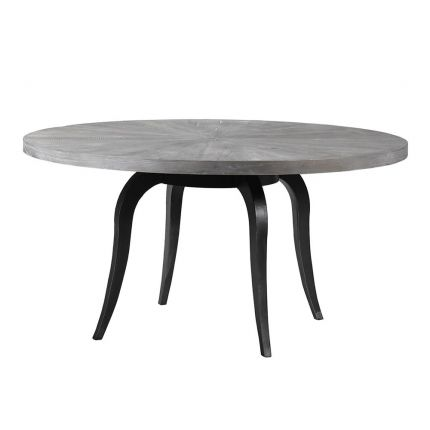 Contemporary grey wooden round dining table with black iron legs