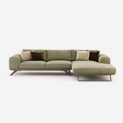 Linen cotton, upholstered, chaise longue sofa with wide contemporary design
