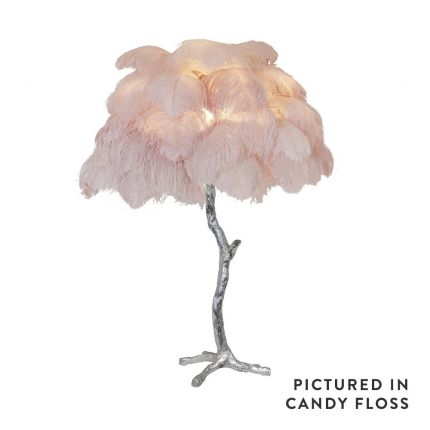 Mini ostrich feather lamp in candyfloss with a silver base