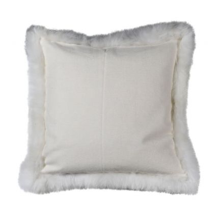 Luxurious ivory wool and fur square cushion