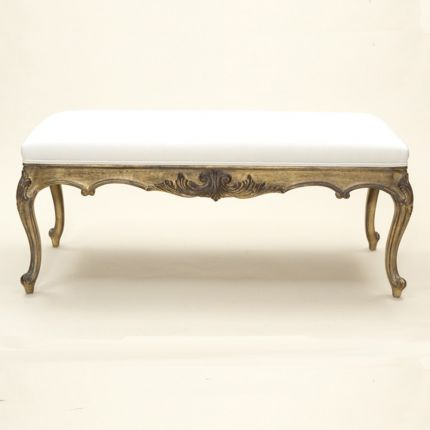 Antique gold long carved stool with swirled carved legs