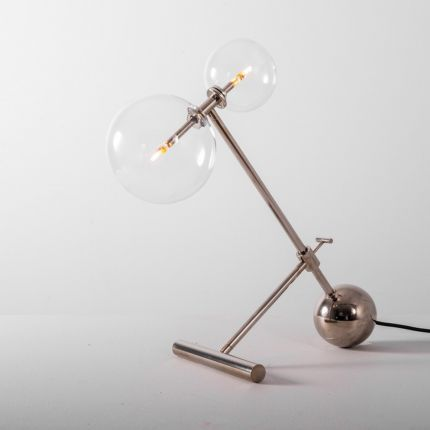 Polished nickel industrial table lamp made from solid brass with clear glass globe lampshades