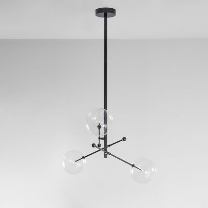 Black gunmetal industrial style 3 arm chandelier with large clear glass lampshades