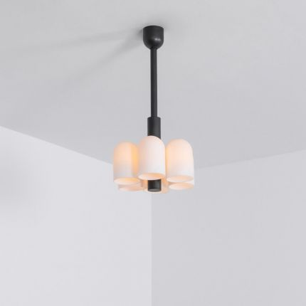 Contemporary black gunmetal solid brass pendant ceiling light with six translucent glass lampshade design