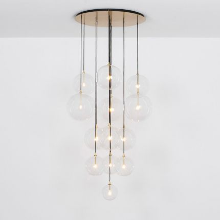 Glamorous industrial chandelier with multiple hanging clear glass globe lampshades