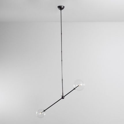 Black gunmetal brass ceiling lamp with clear glass globe lampshades