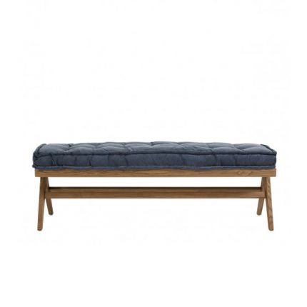A luxurious blue velvet cushioned bench made from brown ash wood