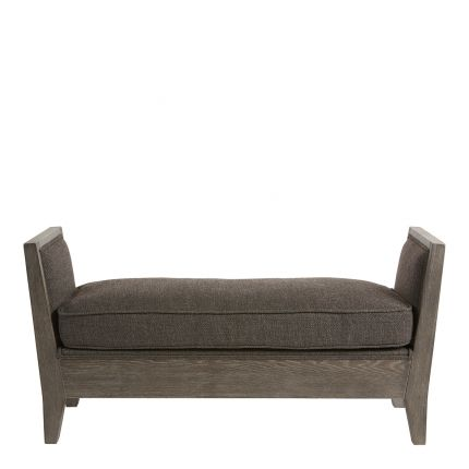 Ash grey, wooden bench with seat cushion