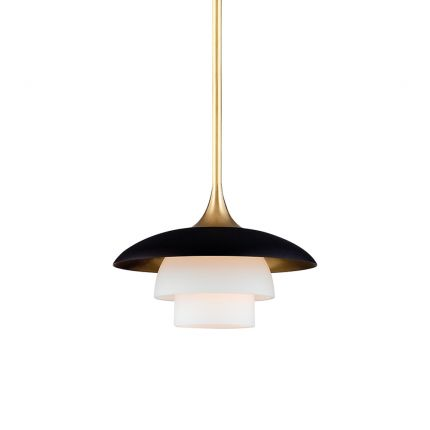 A luxurious black and ager brass pendant with opal acid etched lampshades