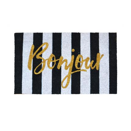 A fabulous black and white striped door mat