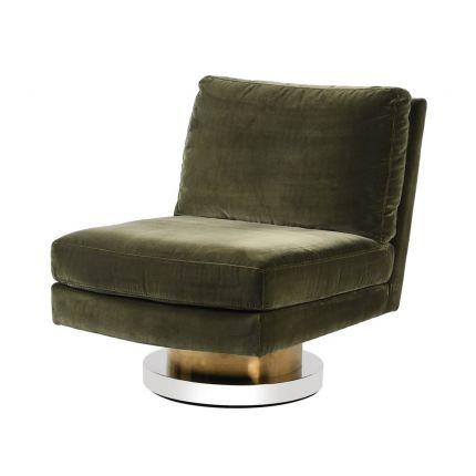 A modern green velvet chair with a stylish nickel and brass swivel base