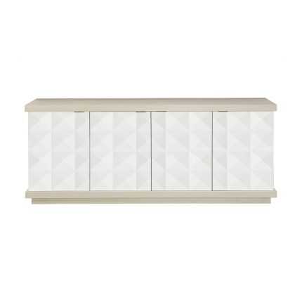 A sophisticated four door geometric patterned buffet with internal shelves and drawers