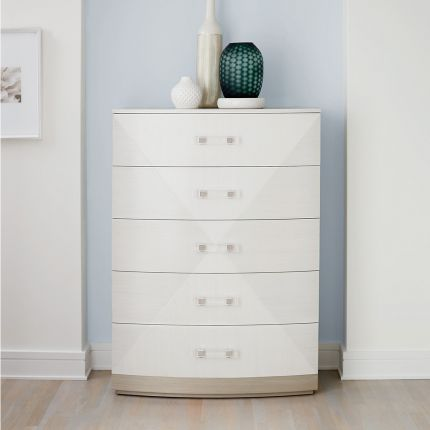 A gorgeous chest from Bernhardt featuring a geometric white and grey finish andfive spacious drawers