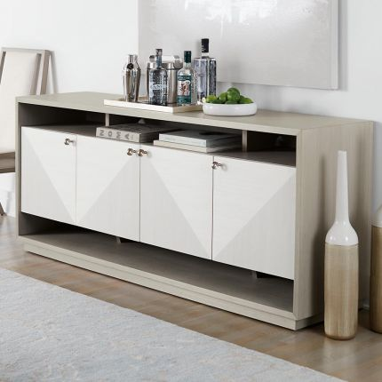 A sophisticated and functional entertainment unit with a geometric design and an abundance of storage