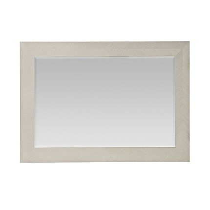 A modern and versatile wall mirror with a wooden frame that can be hung vertically or horizontally