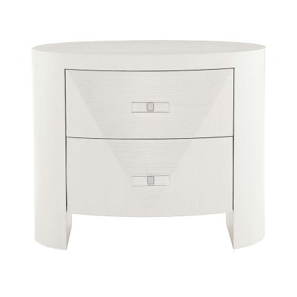A unique and sophisticated oval bedside table by Bernhardt with two spacious drawers and a lovely white veneer finish