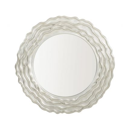 A gorgeous wall mirror featuring a textured wooden frame with layered waves and a silver finish