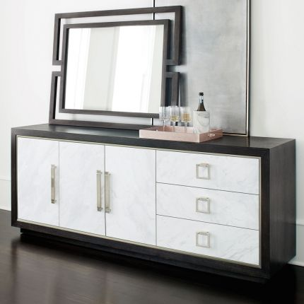 A luxurious buffet featuring a dark brown finish, stainless steel frame and laminated marble front