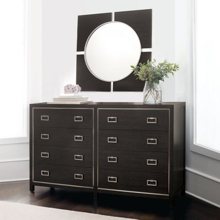 A stylish eight drawer dresser from Bernhardt with a dark brown finish and stainless steel frame