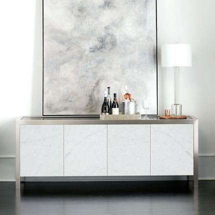 A sophisticated entertainment unit with four marble front doors, a dark brown top, silver frame and internal storage