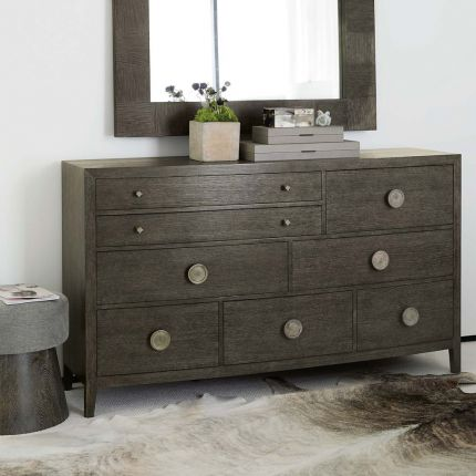 A rich, charcoal 8-drawer dresser with tarnished nickel hardware