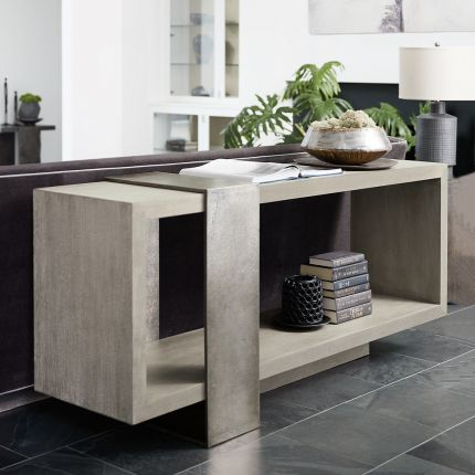 A luxurious console table by Bernhardt with a unique design and open display space