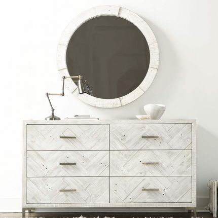 A contemporary mirror by Bernhardt with a white, planked wooden frame and distressed finish
