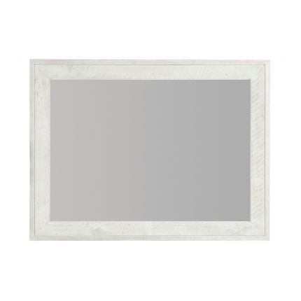A lovely rectangular mirror by Bernhardt with a silver metal outer frame and a white wooden inner frame